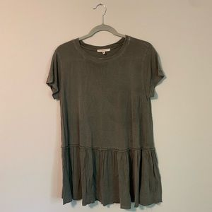 Urban Outfitters Olive Green Loose Peplum Shirt